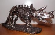 Large Silver Effect Dinosaur Skeleton Statue Triceratops 42 cm